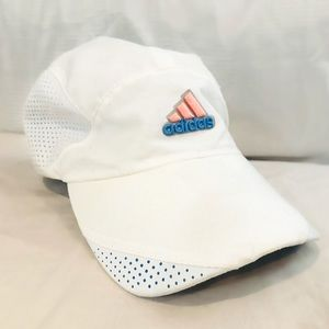 ADIDAS WOMENS RUNNING HAT- WHITE PINK BLUE O/S